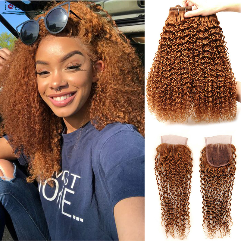 #30 Kinky Curly Peruvian Hair Bundles With Closure Blonde Hair Bundles Colored Human Hair Weave 4 Bundles With Closure Non Remy