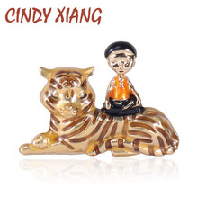 Cindy Xiang Enamel Anak dan Tiger Bros Hewan Fashion Bros Unisex Pin Kreatif Gaya(China)