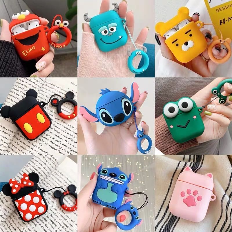 For AirPods <font><b>Case</b></font> Cute 3D Cartoon Earphone <font><b>Case</b></font> for Airpods 1/2/i10/<font><b>i11</b></font>/i12 <font><b>TWS</b></font> Soft Protect Cover with Finger Ring Strap image