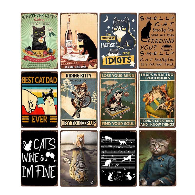 Funny Black Cat Pet Animal Cartoon Metal Tin Sign Vintage Poster Decorative Wall Plates Plaque Retro Home Decor 20x30cm