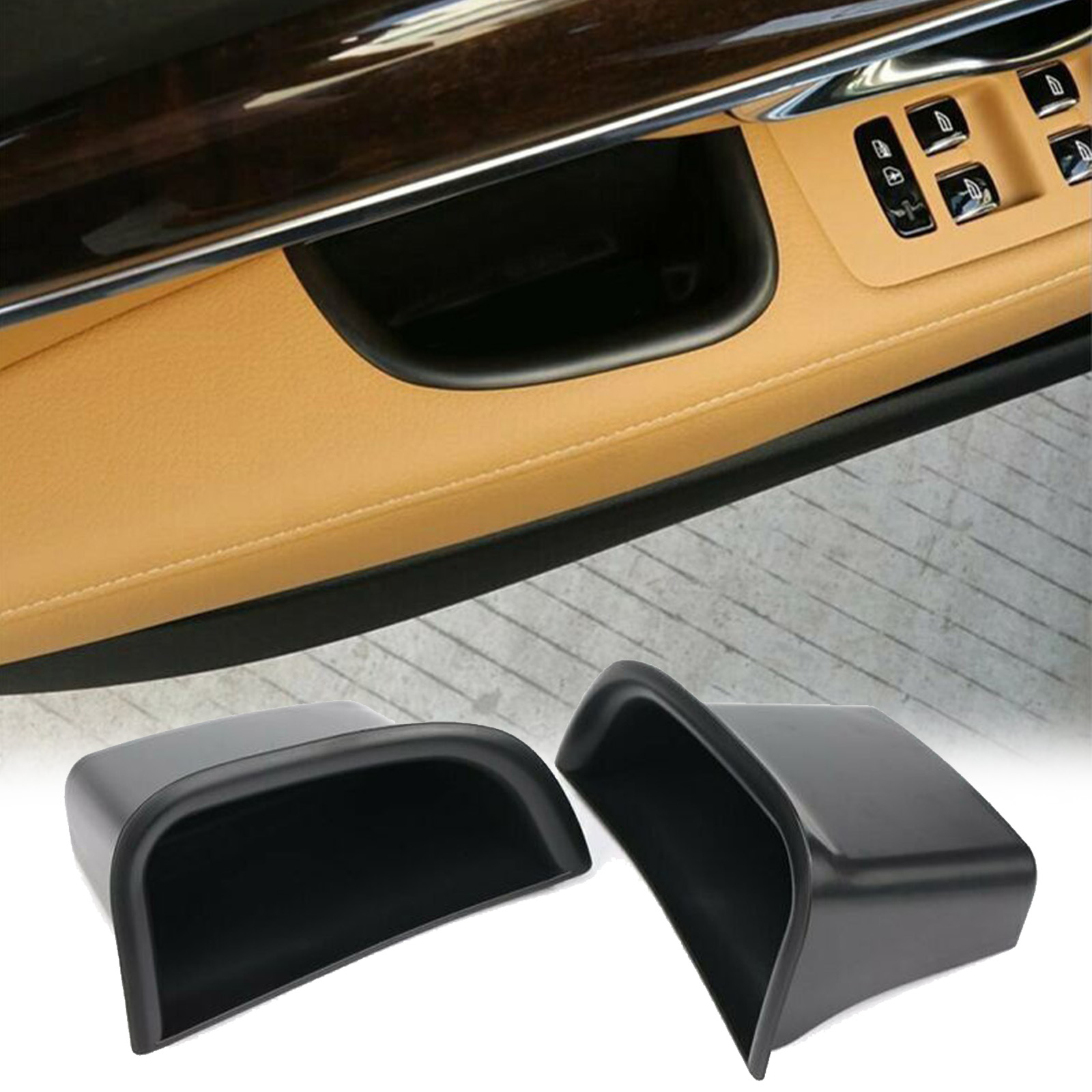 1 Pair Car Door Side Handle Armrest Storage Box For Volvo S90 V90 CC 2017-18 Other Little Stuff