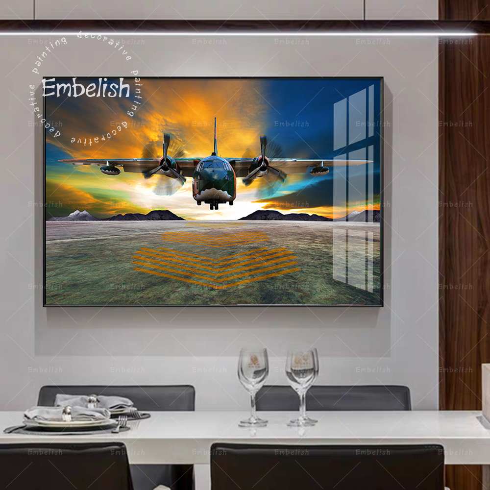 1 Piece Sunset Airplane Large Wall Art Picture For Living Room Aircraft HD Canvas Oil Paintings Modern Home Decor Poster Artwork image