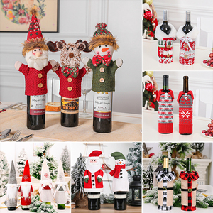 Christmas Wine Bottle Cover Merry Christmas Decoration For Home 2020 Christmas Ornaments Xams Gifts New Year 2021 Cristmas Decor
