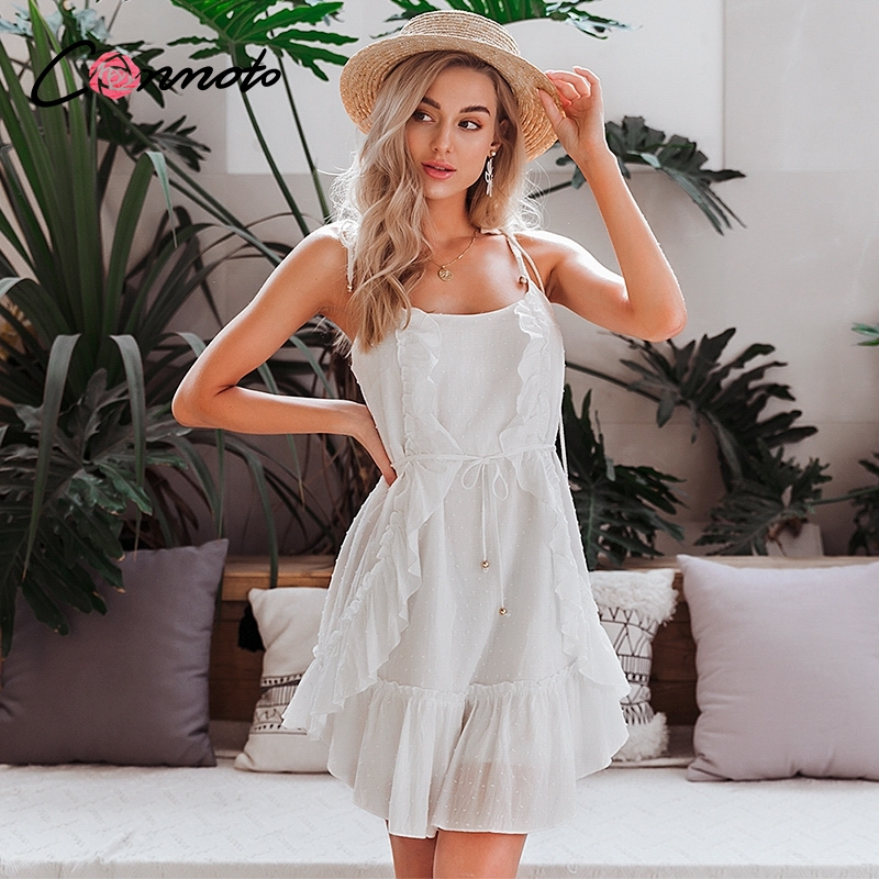 Conmoto Spaghetti Strap Casual Sexy Dresses Women Ruffles White Dress Femme Robe Beach Boho Backless Solid Dress Vestidos