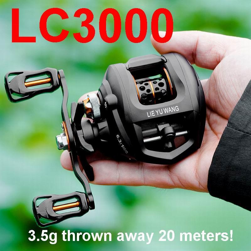 3.5g Throw Away 20 Meters LIEYUWANG LC3000 Lure Fishing Reel 190g. Ratio 6.3:1 5.5Kgs Single Or Double Brake, No.2 Line 100-150M