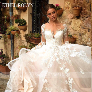 Image 5 - ETHEL ROLYN Romantische A Line Hochzeit Kleider Lange Hülse Taste Illusion Appliques Vestido De Noiva Robe De Mariee Braut Kleid