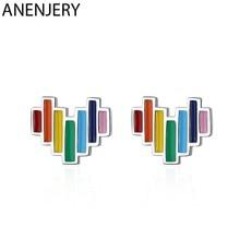 ANENJERY 925 Sterling Silber Schöne Regenbogen Herz Form Stud Ohrringe Mit Tropfen Glasur Ohrring Für Frauen Großhandel S-E957