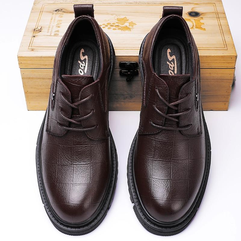 Derbi Business Men Shoes Black Genuine Leather Men Shoes Luxury Brand Mens Wedding Dress Shoes Large Size Lacing Formal Shoe Man