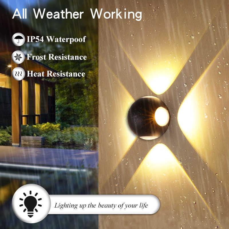 مصباح جداري 4 واط إلى 12 واط المنزل إضاءة ليد خارجية أضواء الجدار مقاوم للماء IP55 الشرفة ضوء الحديثة الجدار مصباح الديكور شرفة ضوء الألومنيوم