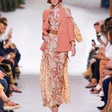 HIGH QUALITY Newest Fashion 2021 Women's Elegant Bow Collar Orange Long Sleeve Maxi Dress + Suit Jacket Two-Piece Suit Sets