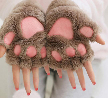 New Women Cute Cat Claw Paw Plush Mittens Warm Soft Plush Short Fingerless Fluffy Bear Cat Gloves Costume Half Finger Party Gift