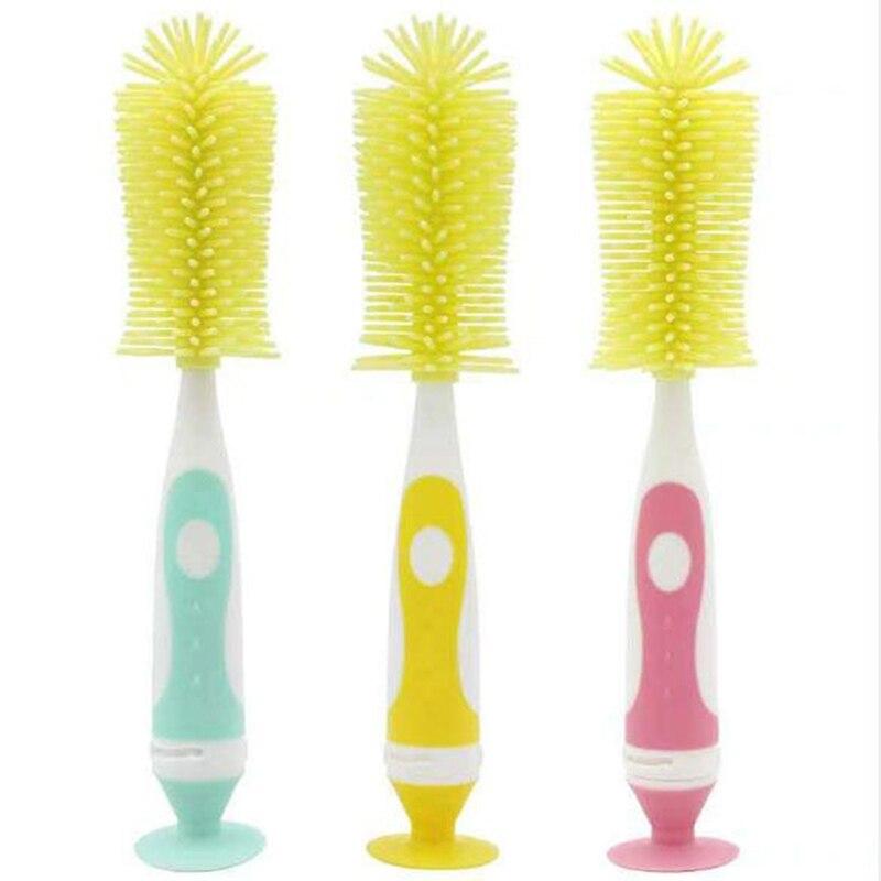 Silicone+PP Baby Bottle Brushes Nipple Brushes Spout Tube Teat Sponge Feeding Bottle Cleaning Brush Multifunctional