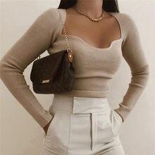 BLSQR – pull en cachemire à manches longues et col rond pour femme, vêtement Sexy, taille haute, élastique, à la mode, nouvelle collection printemps