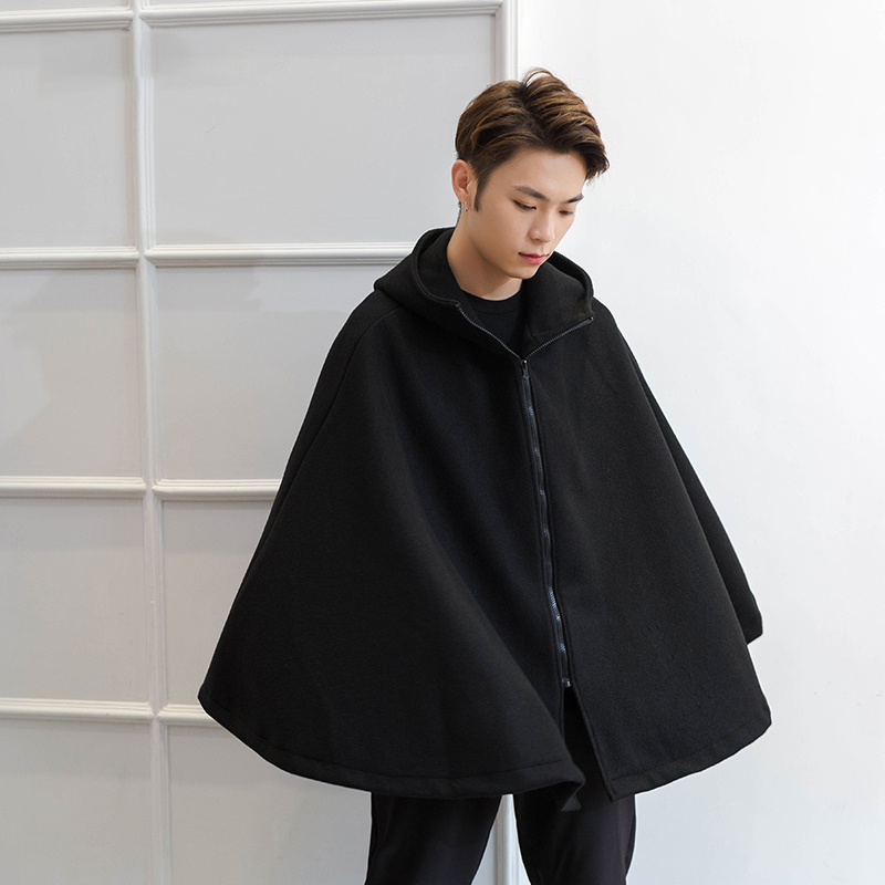 M-4XL woolen cape coat men's bat-type autumn and winter hooded coat men's hoodie coat men's woolen cape cape tide
