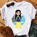 Летние новые модные футболки с мультяшным принтом mulan с коротким рукавом женские милые модные топы принцессы для девочек футболки детская о...