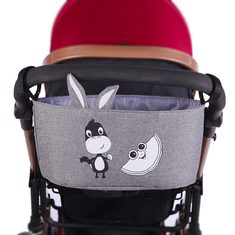 New Style Cartoon Animal Pattern Baby Stroller Organizer Bag Storage Large Space Trolley Hooks Hanging Bags Stroller Accessories