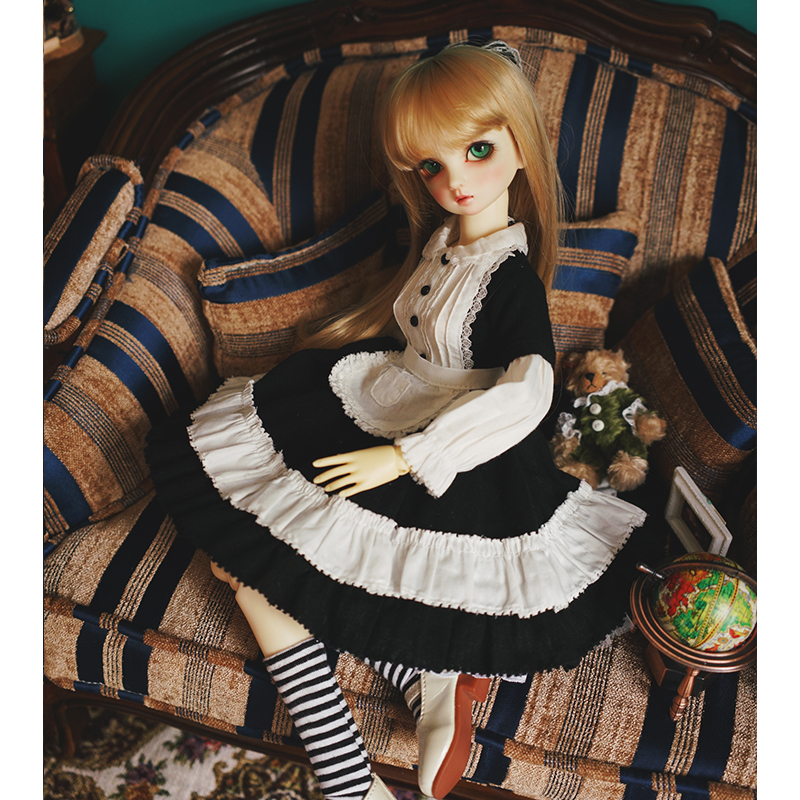 BJD Doll Maid Wears Doll Dress +hair Decoration + Socks For 1/6 1/4 1/3 BJD Doll Accessories Dress Suit Black And White Color