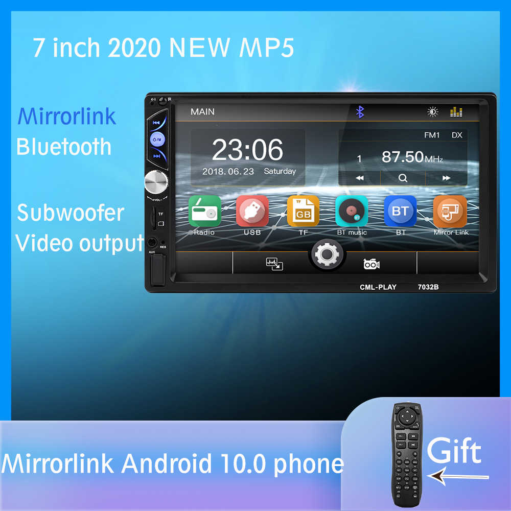 "2din Mobil Radio 7 ""Touch Mirrorlink Android 9 Pemain untuk Subwoofer MP5 Player Autoradio Bluetooth Rear View Kamera Tape perekam"