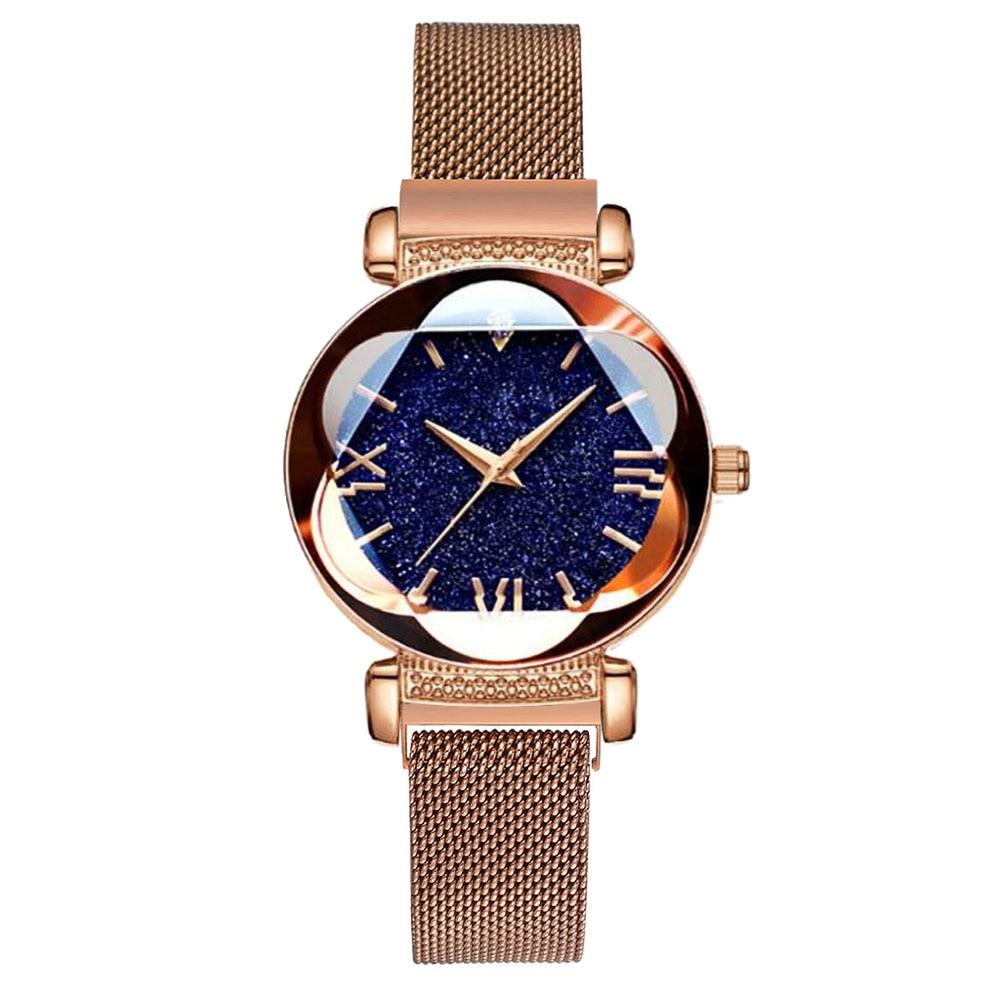Luxury Rose Gold Women Watches Fashion Diamond Ladies Starry Sky Magnet Watch Waterproof Female Wristwatch For Gift Clock 2020