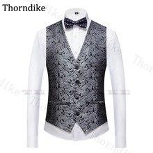 Suit Vest Wedding-Party-Wear Men Waistcoat Groomman Formal Casual Mens Silver Jacquard
