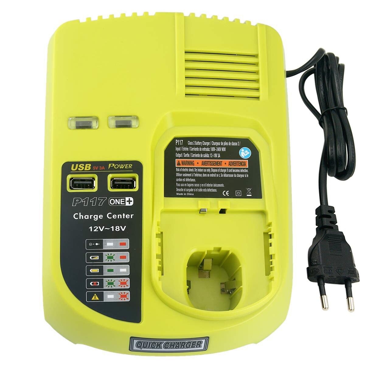 Para ryobi um + 18 v 6.0ah li ion bateria recarregável p108 + novo carregador p117 para ryobi 9.6 v 18 v ni cad ni mh li ion bateria - 5