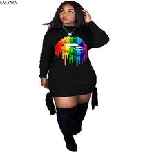 CM.YAYA moda damska kolorowe z nadrukiem ust z długim rękawem związywane boczne bluzy sukienka Plus rozmiar S-4XL