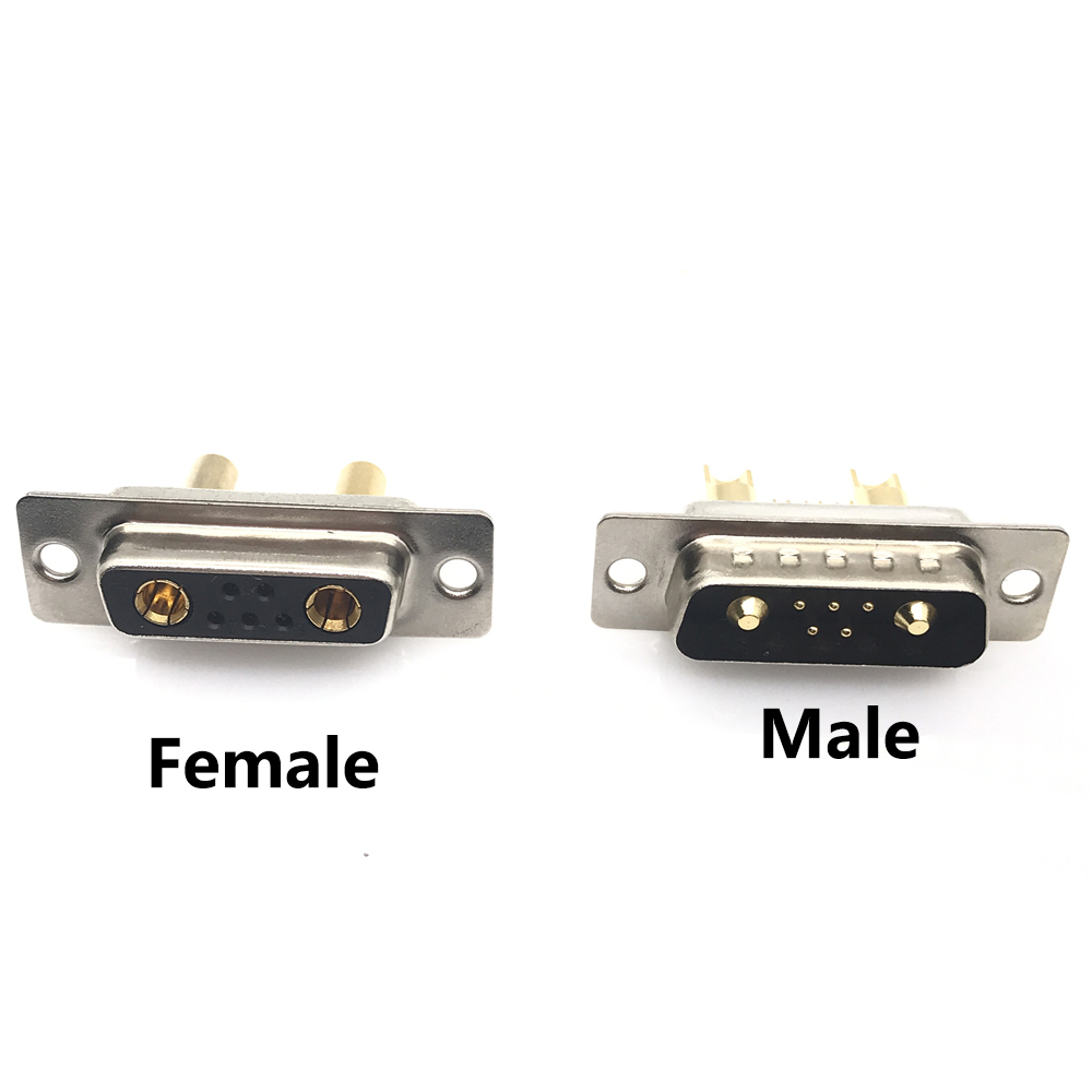 1PCS 7W2 30A Gold Plated MALE FEMALE High Current CONNECTOR D-SUB Adapter Solder Type 5+2 Plug Jack High Power 7 Power Position