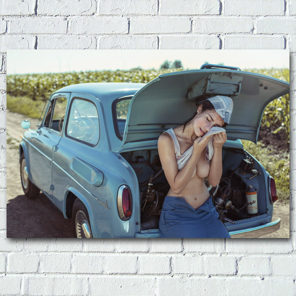 Sexy Woman with Retro Car Girl Chest Model Outdoor Photo Wall Art Posters Canvas Prints silk paintings For Living Room Decor 1