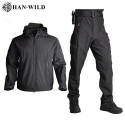 TAD Men Soft Shell Hunting Jacket Sets Tactical Jackets Army Waterproof Camo HuntingClothes Suit Shark Skin Military Coats+Pants