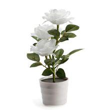 Led artificial planta rosa varanda gramado jardim candeeiro de mesa casa decorativa cabeceira solar powered quarto vaso flores branco