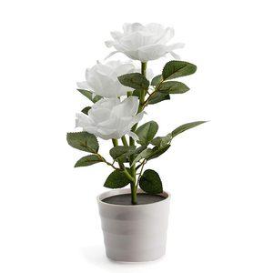 Image 1 - Planta Artificial Led rosa para balcón, jardín, jardín, Lámpara decorativa para mesita de noche, alimentada por energía Solar, maceta de flores para dormitorio blanca