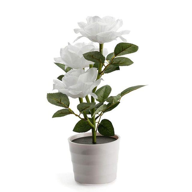 Planta Artificial Led rosa para balcón, jardín, jardín, Lámpara decorativa para mesita de noche, alimentada por energía Solar, maceta de flores para dormitorio blanca