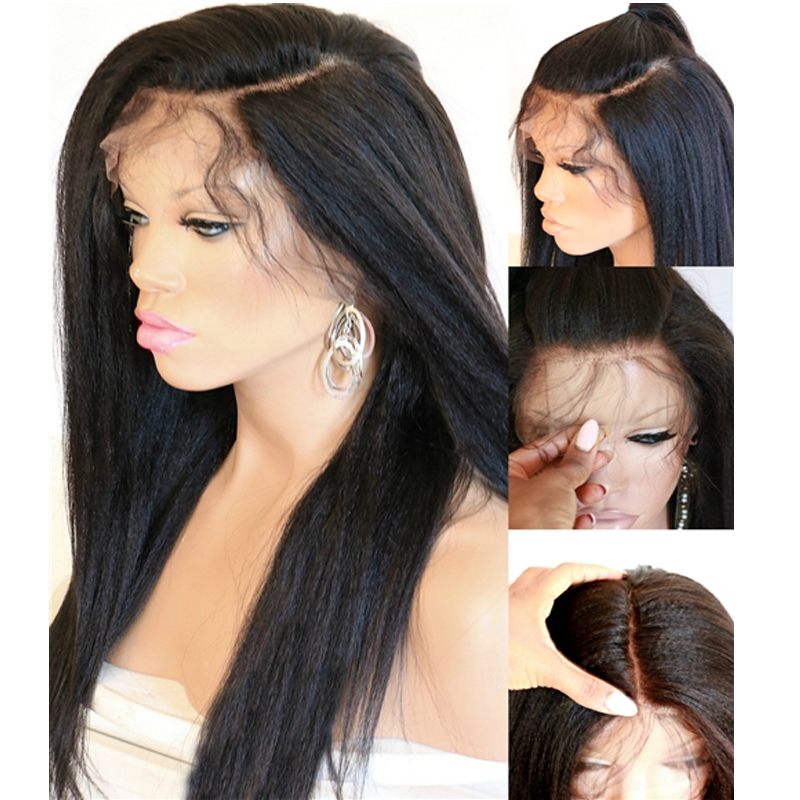 Eversilky Pre Plucked Hairline Malaysian Remy 360 Lace Frontal Wigs Human Hair With Baby Hair Yaki Straight Braided  Ponytail
