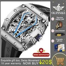 Oupinke Top Merk Luxe Mannen Mechanische Automatische Horloges Zwitserse Beweging Waterdicht Saffier Spiegel Mannen Automaitc Horloges