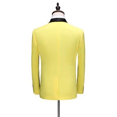 3 Piece Suits Men Yellow Desiger Slim Fit Plus Size 5XL Takım Elbise Boys Wedding Suits Party Dress Tuxedo Mens Suit 2020 New - 6