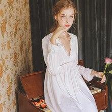 Nightdress Female Autumn Retro Court Sexy V-Neck Applique Skirt Lace Princess Gauze Sleepwear Women GZ03