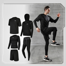 Mens sportswear suit gym tights training jogging compression fitness running MMA
