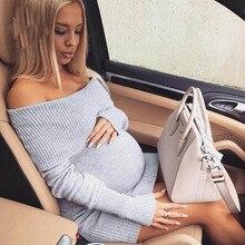 2018 hamile elbisesi Tops sonbahar kış gebelik giysileri hamile kadınlar için omuzsuz seksi mumya giyim el sanatları lastikleri