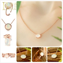 BOAKO Fire Opal necklace women rose gold engagement gem stone pendant crystal chokers girl collier Z5