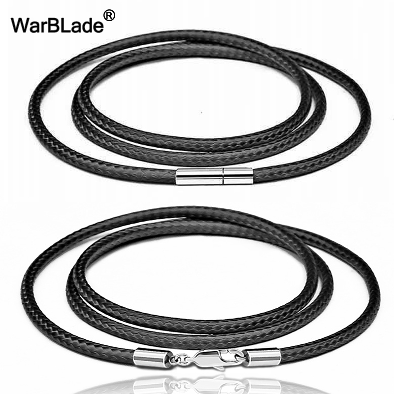 40-80cm Leather Cord Necklace Cord Wax Rope Lace Chain With Stainless Steel Rotary Clasp Lobster Clasp For DIY Necklaces Jewelry