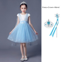 Girls New Elsa 2 Dress with Wing Cape Children Summer Casual Clothes Kids White Blue Elegant Pageant Party Gown for 3-10 Years chiffon children butterfly wing design cape