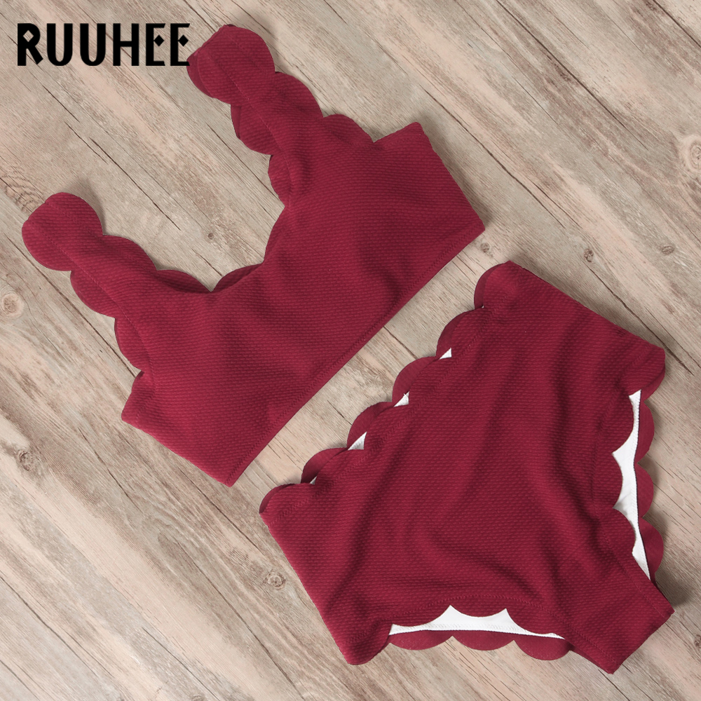 RUUHEE Bikini 2020 Woman Swimsuit High Waist Bathing Suits Swimwear Adjustable Back Lace Up Bikini Set Two Pieces Swimsuit