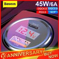Baseus 45w carga rápida 4.0 3.0 carregador de carro usb para iphone xiaomi samsung qc4.0 qc3.0 qc tipo c pd carro rápido carregador de telefone móvel|Carregadores de celular| |  -