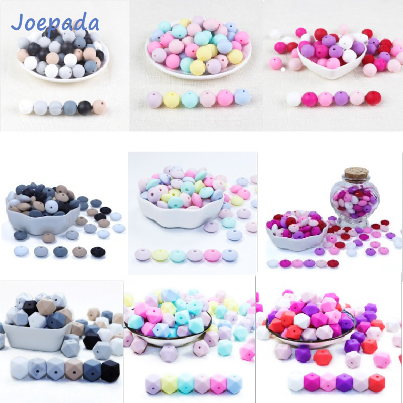 Joepada 30Pc 9/12/15mm Round Silicone Beads Teething Nursing Necklace Lentils Beads Food Grade Silicone Hexagon Silicone Teether(China)