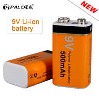 PALO 500mAh 9V Li-ion batería recargable baja autodescarga 9v batería de polímero de litio para multímetro micrófono juguete KTV uso