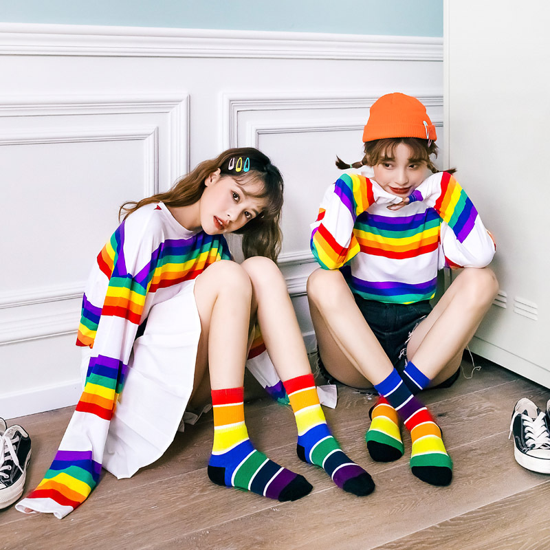 Fashion Women Socks Fashion Multicolour Crew Socks Cotton Wild Deodorant Comfortable 2019 Winter New  Breathable Socks Women
