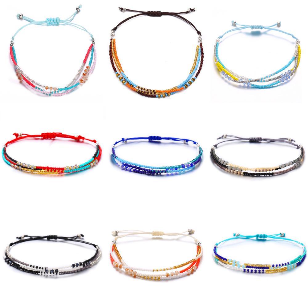 TOUCHEART Handmade String Cord Woven Braided Bracelets&Bangle For Women Multicolor Bracelet Simple Beading Bracelet SBR190447