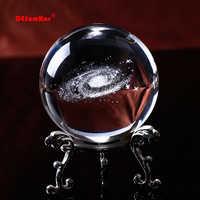 3D láser grabado bola de cristal de cuarzo 6CM de diámetro globo Galaxy miniaturas bola de cristal esfera accesorios de decoración del hogar regalos
