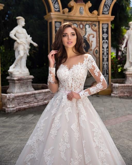 Elegant Ball Gown Wedding Dress 2021 Lace Princess Satin Belt Beading Appliques Bridal Muslim Bride Gowns Vestido De Noiva 3