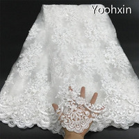 High quality 3D beads african flower lace fabric Embroidered 5 yards lace fabric sewing DIY trim applique Ribbon guipure dress